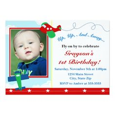Airplane Boy Birthday Invitation 5x7 Photo Card
