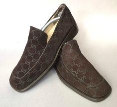 a864a12e88a Gucci brown monogram suede signature GG Guccissima loafers 42 1 2 or 9 1