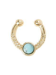 LOVEsick Gold & Turquoise Stone Faux Septum,