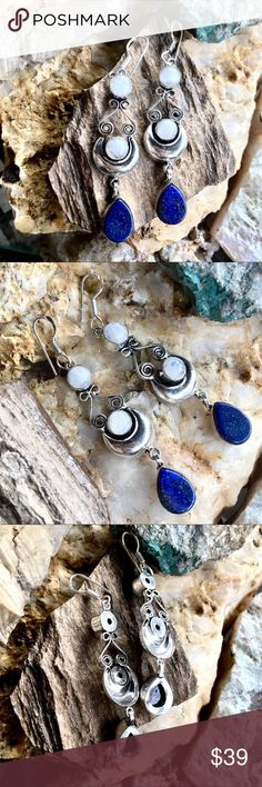 Moonstone and lapis lazuli drop earrings Beautiful teardrops of cobalt blue lapis lazuli with characteristic flecks of gold pyrite paired here with round cabochons of rainbow moonstone. Handcrafted, silver plated setting. Variations in natural stones make these gorgeous earrings one of a kind. These moonstones are white and some have a little bit of blue fire depending on the angle and lighting but look mostly white.   Party, formal, boho, festival Excelencia Jewelry Earrings