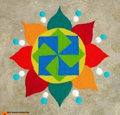 Get the best rangoli designs for competition in here. rangoli designs are a bit tricky but can be mastered with lots of practice and patience. Easy Rangoli Designs Diwali, Rangoli Photos, Rangoli Simple, Indian Rangoli Designs, Simple Rangoli Designs Images, Rangoli Designs Flower, Rangoli Designs Latest, Rangoli Border Designs, Rangoli Colours