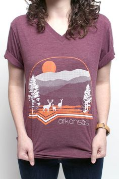 Arkansas Mountains V-neck in burgundy by ArkieStyle on Etsy