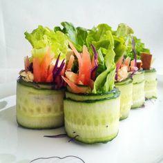 Cucumber rolls with a lemon garlic white bean spread
