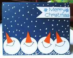 Merry Christmas Message, Boxed Christmas Cards, Christmas Card Crafts, Homemade Christmas Cards, Xmas Cards, Homemade Cards, Handmade Christmas, Blue Christmas, Christmas Card Ideas With Kids