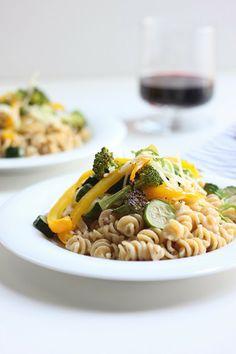 Creamy Pasta with Roasted Vegetables- light cream half and half sauce