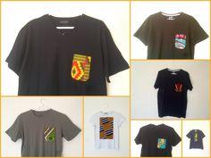 Tee shirt noir customisé tissu motif africain wax vert jaune rouge