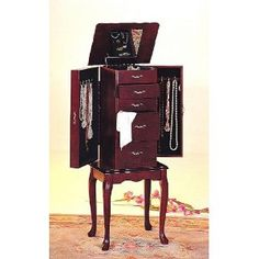Jewelry Armoire Queen Anne Style Cherry Finish 2015 Amazon Top