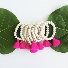 Ivory Wood Tassel bracelet Magenta Tassel by AllGirlsneed on Etsy