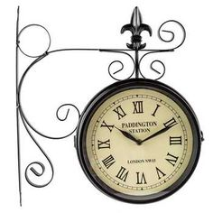 new wall clock paddington station railroad 2 faced double sided home office