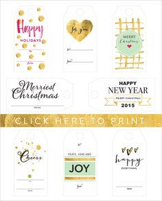 free printable holiday tagshttp://www.weddingchicks.com/2014/12/10/free-holiday-gift-tags/