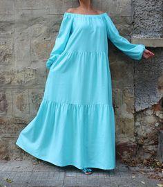 Turquoise Maxi dress Boho Dress Plus size by cherryblossomsdress