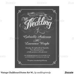 Vintage Chalkboard Poster Art Wedding Invitation