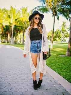 miami fashion blogger, nany's klozet, crochet kimono, different ways to wear, remix