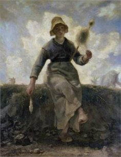 The Spinner, Goatherd of the Auvergne - Jean-Francois Millet