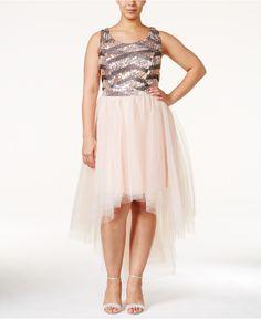 Trixxi Plus Size Sequined High-Low Maxi Dress - Dresses - Plus Sizes - Macy's