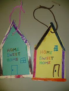 """craft stick House craft...use for """"A House Is a House for Me"""" by Mary Ann Hoberman"""