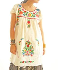 Las Florecitas Mexican dress embroidered bohemian by AidaCoronado