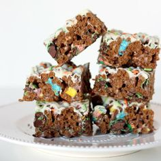 Chocolate Lucky Charms Marshmallow Treats--with Mint M&M's and White Chocolate Drizzle