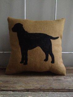 Burlap Pillow - Labrador Burlap Pillow - Dog Silhouette, Labrador Retriever, Lab - Custom Made to Order