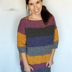This comfy, easy to make sweater is the perfection addition to your fall wardrobe.I used 2 Caron Cakes to make this sweater. When picking out my skeins, I made sure to find ones that had the same starting color so the stripes on the front and back out (almost) match up. I also made a …