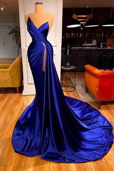 Glamourosa Royal Blue Sweetheart Vestido de Baile Sereia Longo Vestido de Noite - Ballbella Split Prom Dresses, Royal Blue Prom Dresses, Best Prom Dresses, Mermaid Prom Dresses, Dresses For Sale, Bridesmaid Dresses, Evening Dresses Online, Dress Online, Long Sleeve Evening Gowns