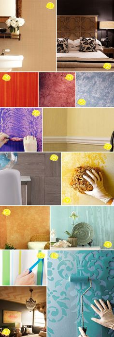 "@Leann T Guthrie  for mom.... go to bottom and click ""Martha Stewart"" directions.  Textured painting ideas - never have a plain wall again!"