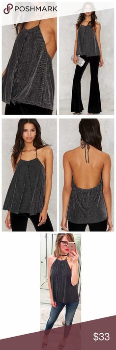 ➡Nasty Gal Metallic Live A Little Lurex Halter Top The top to top all tops (dramatic, but true). The Live a Little Top is black with silver lurex stripes, halter design with elastic band in the back. Add jeans + heels and go! Nasty Gal Tops
