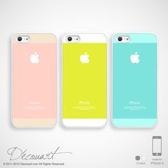 Pastel iPhone 5 case, iPhone 5 cover, lemon yellow baby pink baby blue mint white with apple logo S366 S525 S523