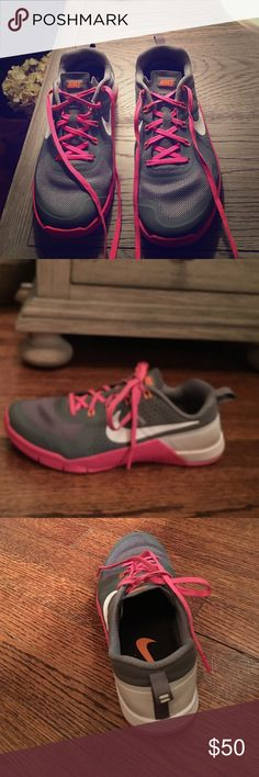Nike Metcon Nike Metcon 1 Women - Gray with hot pink and white.  These have been worn a bit but rotated with two other pair.  They are still in good shape. I just went on to purchase the Metcon 2 Nike Shoes Athletic Shoes
