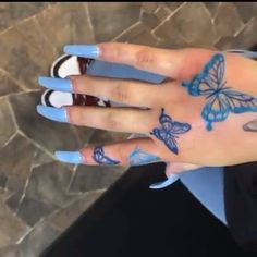 𝔉𝔬𝔩𝔩𝔬𝔴 𝔣𝔬𝔯 𝔪𝔬𝔯𝔢💙 aesthetic videos Blue butterfly hand tattoo Yellow Butterfly Tattoo, Colorful Butterfly Tattoo, Butterfly Tattoos For Women, Butterfly Tattoo Designs, Simple Butterfly, Monarch Butterfly, Dope Tattoos, Pretty Tattoos, Body Art Tattoos