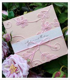 Pink Wedding Invitations - Lace Wedding Invitations - Huetopia Design