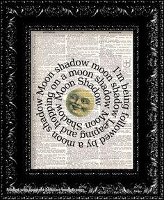 Cat Stevens Moon Shadow Lyrics Vintage by TheRekindledPage on Etsy, $8.98