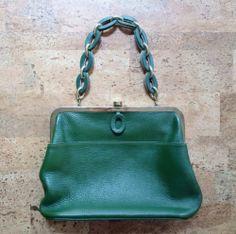 Vintage Green Leather Roger Van s Handbag 1960s