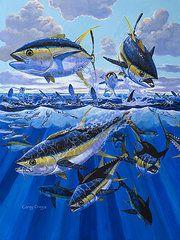 Pirate Art - Tuna rampage by Carey Chen Underwater Art, Underwater Creatures, Tropical Tile, Boat Illustration, Tuna Fishing, Fish Artwork, Pirate Art, Eagle Art, Fish Drawings