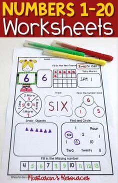 Numbers printable worksheets contain 11 activities . Perfect for preschool, kindergarten and grade. Teaching Numbers, Math Numbers, Teaching Math, Kids Numbers, Teaching Tools, Elementary Math, Kindergarten Math, Kids Math, 1st Grade Math Worksheets