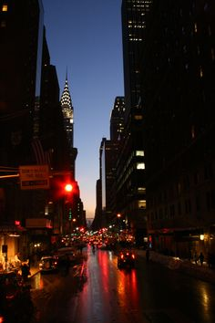 New York City at night. Chrysler building