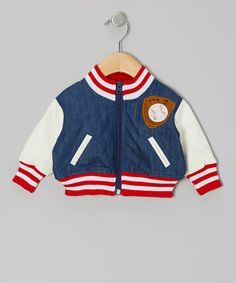 Loving this Blue & White Baseball Jacket - Infant on #zulily! #zulilyfinds