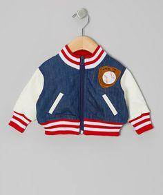 Loving this Blue & White Baseball Jacket - Infant on #zulily! #zulilyfinds