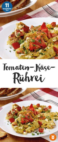 Tomato and cheese scrambled eggs 11 SmartPoints / serving, Weight Watchers, breakfast, ready in 15 min. Egg Recipes, Low Carb Recipes, Healthy Recipes, Scrambled Eggs With Cheese, Weight Watchers Breakfast, Tomato And Cheese, Fettuccine Alfredo, Healthy Eating Tips, Queso