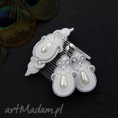 komplet soutache simire silver, sutasz, soutache, ślubny, zestaw komplety biżuteria