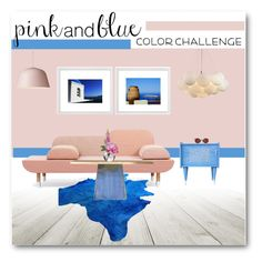 """""""Color Challenge: Pink and Blue"""" by fashionconnery ❤ liked on Polyvore featuring interior, interiors, interior design, home, home decor, interior decorating, Fendi, Gervasoni, OKA and Diane James"""