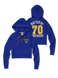 Milwaukee Brewers Shrunken Zip Hoodie - Victoria's Secret PINK - Victoria's Secret