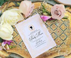Vintage Cameo Bridal Shower Invitation // Vintage Shower, Pink, Gold, Silhouette // Invitations & Design by Coconut Press Vintage Invitations, Bridal Shower Invitations, Boutique Design, A Boutique, Personalized Stationery, Invitation Design, Regency, Wedding Events, Identity