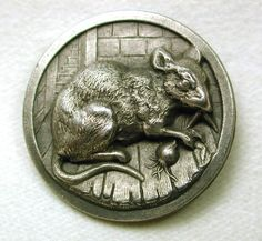 ButtonArtMuseum - Old French Metal Button Rat Radish Pictorial Design