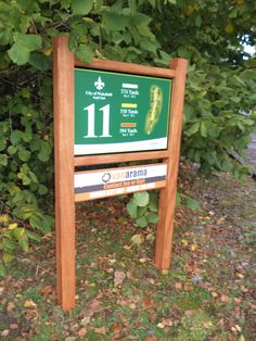 Hardwood Westminster tee sign for City Of Wakefield Golf Club with sponsor panels