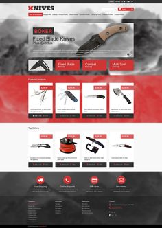 PrestaShop Template for Multi-Purpose Knives Website Teaching Themes, Camping Tools, Online Support, Website Template, Weapons, Purpose, Design Inspiration, Knives, Templates