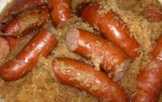 German sauerkraut and kielbasa- rinse sauerkraut in colander,squeeze out water...Saute onion and bacon