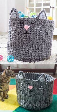 Keep your kitty's playthings organized in this charming basket. We've designed it with a double strand of yarn for sturdiness. Stool Cover Crochet, Crochet Mat, Crochet Cat Pattern, Crochet Home, Thread Crochet, Cute Crochet, Easy Crochet, Crochet Stitches, Crochet Style