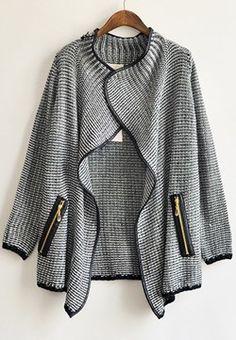 SheInside Black Long Sleeve Front Flecked Zip Cardigan - love this sweater/jacket look!