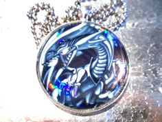 Yugioh Classics - Blue Eyes White Dragon Yugioh Pendant 1.5 Diameter